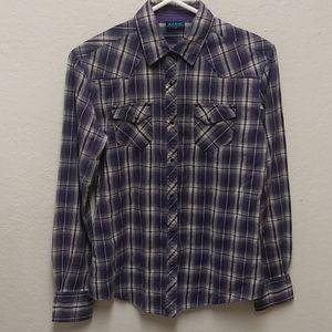 Kuhl Medium Purple Plaid Western Pearl Snap Shirt